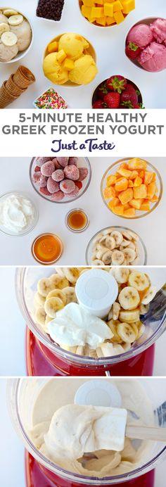 5-Minute Healthy Greek Frozen Yogurt | recipe via justataste.com | #healthy #recipe