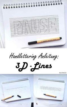 Diese Handlettering Anleitung zeigt dir, wie du ganz einfach ein Lettering mit 3D-Lines erstellen kannst. Alleine durch Linien entsteht ein toller 3D-Effekt in deinem Lettering.