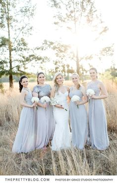 A breathtaking bride and her bridesmaids in perfect Pantone Serenity blue. Wedding Attire, Chic Wedding, Wedding Dresses, Grey Bridesmaid Gowns, Bridesmaids, Silk Gown, Real Weddings, Studios, Bridal