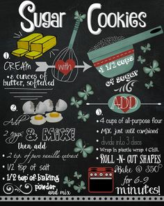 Save yourself a little time by printing this free sugar cookie recipe chalkboard printable. Frame it or hang it on the fridge for easy access.