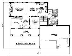 First Floor Plan of Craftsman   European   Traditional   House Plan 42061