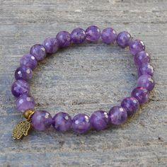 Bracelets - Healing - Genuine Faceted Amethyst Gemstone Yoga Mala Bracelet