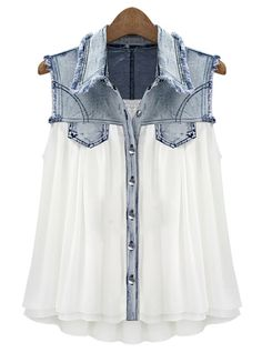 Stiching Denim Lapel Sleeveless White Chiffon Shirt #ECS009959