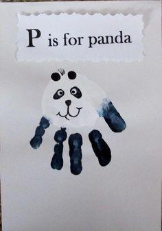 Hand painting for kids Panda Bear handprint Zoo Crafts, Daycare Crafts, Classroom Crafts, Animal Crafts, Baby Crafts, Panda Bear Crafts, Panda Craft, Letter P Crafts, Alphabet Crafts