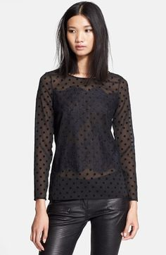 The Kooples Lace Appliqué Sheer Polka Dot Shirt available at #Nordstrom