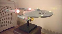 Scratch build Star Trek USS Enterprise model, fully lit with LEDs and motorised engines.