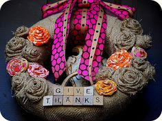 A little Project to do this weekend -- Make a Burlap Scrabble Wreath!