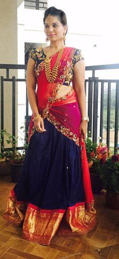 ideas bridal saree blouse colour for 2019 Half Saree Lehenga, Kids Lehenga, Saree Dress, Gown Dress, Sarees, Half Saree Designs, Lehenga Designs, Saree Blouse Designs, Indian Dresses