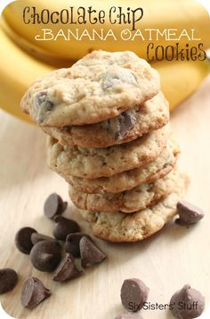 Chocolate Chip Banana Oatmeal Cookies from sixsistersstuff.com.  So good, you'll want your bananas to turn brown just to make them! #recipes #cookies #bananas