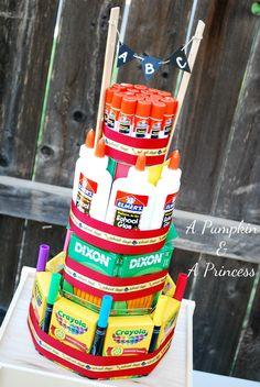 school supply cake - CUTEST Teacher Gift EVER