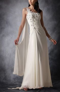 Floral One Shoulder Sheath Wedding Gown