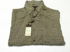 Tasso Elba Island L Silk Linen Blend Men's Short Sleeve Button Front NEW NWT #TassoElba #ButtonFront
