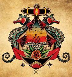 Seahorse Anchor Tattoo Flash | KYSA #ink #design #tattoo