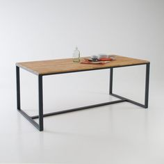 Image HIBA Solid Walnut and Steel 6-8 Seater Table La Redoute Interieurs