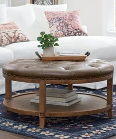 So much functionality, so many lovely details you'll adore. Use for impromptu seating; a place to rest your laptop or a serving tray; store books, magazines, and more on the handy shelf. Ultra comfortable button-tufted top. Hand-tacked nailheads over welting. Carved detailing. Arched feet. Wow. Upholstered Coffee Tables, Ottoman Table, Furniture Grade Plywood, Bench Furniture, Seat Storage, Extra Seating, Living Room Inspiration, Solid Pine, Slipcovers
