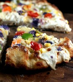 Roasted Garlic Cream Cheese, Mozzarella, Asiago Vegetable Pizza