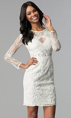 001b147f3ae4 Illusion-Lace Long-Sleeve Sheath Graduation Dress