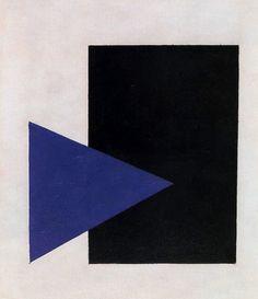 "russian-avantgarde-art: "" Suprematism with Blue Triangle and Black Square, Kazimir Malevich Medium: oil on canvas"" Kazimir Malevich, Triangle Art, Motif Vintage, Illustration Art, Illustrations, Art Moderne, Kandinsky, Op Art, Geometric Art"