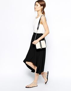 ASOS Midi Skirt With Hanky Hem
