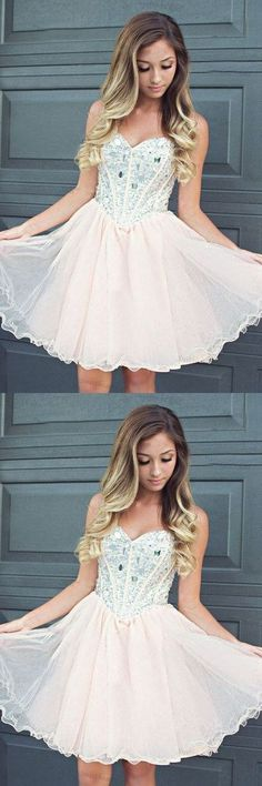 Pearl Pink Short Homecoming Dress, Elegant Prom Dress with Beading, Sweetheart Party Cocktail Dress 0662 by RosyProm, $142.99 USD