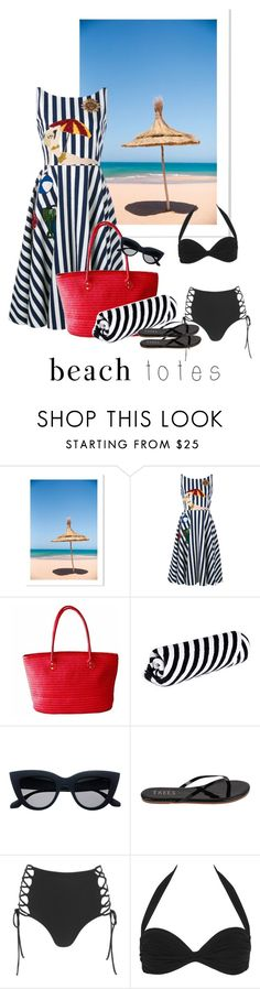 """""""Beach tote"""" by blondeandcrazy ❤ liked on Polyvore featuring Dolce&Gabbana, The Beach People, Tkees, Mara Hoffman, Norma Kamali and beachtotes"""