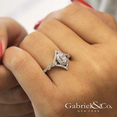 Gabriel & Co.-Voted #1 Most Preferred Fine Jewelry and Bridal Brand. Beautiful Vintage 14k White Gold Oval Halo  Engagement Ring.