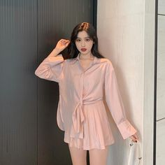 Fairy Sunscreen Shirt Female Port Flavored Gas Jacket + High Waist Wide Leg Shorts Season Suit Female Temperament Two-pi Kpop Outfits, Teen Fashion Outfits, Korean Outfits, Fashion Pants, Korean Clothes, Korean Girl Fashion, Korea Fashion, Prom Dresses With Sleeves, Everyday Dresses