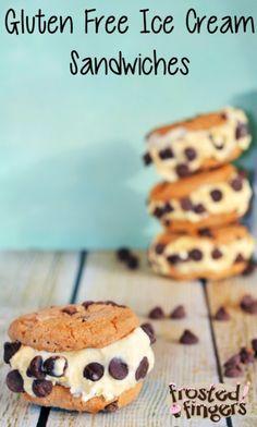 Gluten Free Ice Cream Sandwiches made with Glutino Chocolate Chip Cookies