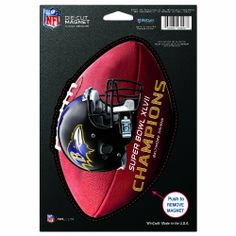 """NFL Baltimore Ravens Super Bowl XLVII Champions Die Cut Logo Magnet by WinCraft. $7.99. From the Manufacturer                Die cut logo magnet made of weather resistant materials. The logo is cut to the maximum size with the 6.25"""" x 9"""" sheet. The magnet is great for the back bumper, refrigerator, or tool box. Made in the USA.                                    Product Description                Die cut logo magnet made of weather resistant materials. The logo is cut to the maxi..."""