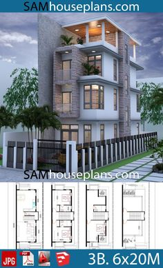 House Plans with 3 Bedrooms - Sam House Plans Narrow House Designs, Narrow House Plans, Modern House Floor Plans, Duplex House Plans, Bungalow House Design, House Front Design, Small House Design, New House Plans, Dream House Plans