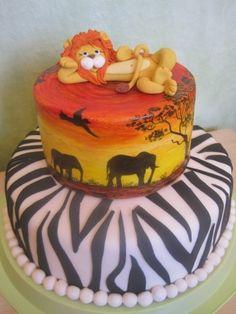 Birthday cake for Hunter - jungle Cute Cakes, Yummy Cakes, Jungle Cake, Jungle Party, Lion Cakes, Fondant, Cake Boss, Cake Art, Amazing Cakes