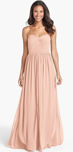 blush bridesmaid dress. such a flattering style (comes in an array of colors)