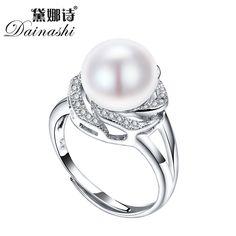 Grande Sconto 925 sterling silver jewelry in vendita grande perla naturale anelli per le donne di pietra anello regolabile bianco/rosa/viola perla