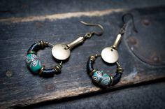 ethnic earrings • bohemian • indonesian beads • african black vinyl • green glass • hoop • tribal • nomad • long earrings