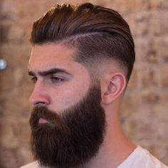 Mid Fade with Slick Back and Beard