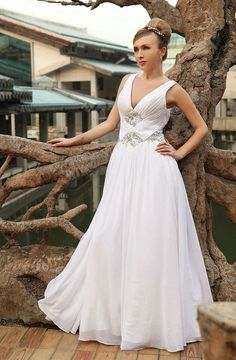 Contracted White Straps V-neck Ruched Princess Evening Clothing