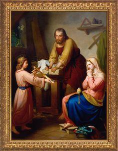 Decorative Arts Conscientious Antique Painting Religious Scene With Ornate Antique Gold Frame Antiques