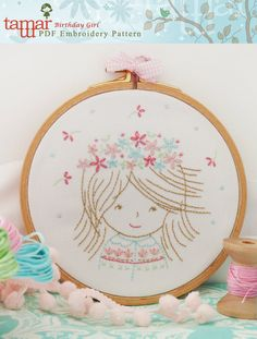 Embroidery Pattern, Digital Paper Design, Instant Download - Birthday Girl