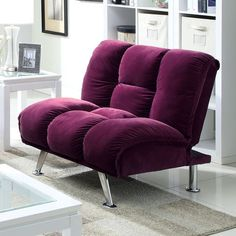 """Maybelle Chair CM2908PR-CH Description:  Stylish chrome legs accent this contemporary purple corduroy futon and matching chair. Both quickly fold down to make a comfortable bed, or fold down the chair and arrange as a chaise.. Features:   Contemporary Converts into Bed Padded Corduroy Chrome Legs Dimension:  Chair : 38""""W X 34""""D X 35 1/4""""H (Seat Ht19"""", Seat Dp21 1/2"""")"""