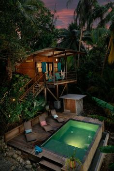 Something like this but up in the trees above the natural pool. Maybe with an outdoor shower at the base. Water Bungalow over the pool at The Firefly, Bocas Del Toro, Panama House Of Turquoise, Luxury Tree Houses, Cool Tree Houses, Casa Hotel, Tree House Designs, Unique House Design, Modern Design, Style At Home, Home Fashion