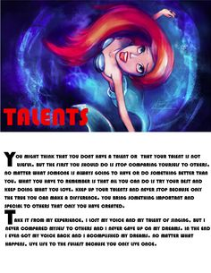 Fairy Tale Magazine: Ariel Gives Advice August 2014 Edition #ariel #littlemermaid #fairytalemagazine #inspirationalquotes #advice #forgirls