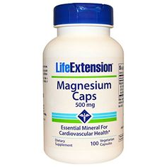 Life Extension Magnesium Vegetarian Capsules Relaxing Muscles 500 Mg 100 CT Brain Nervous System, Nervous System Function, Lipid Profile, Bone Strength, Magnesium Supplements, Healthy Blood Pressure, Life Extension, Bone Density, Cardiovascular Health