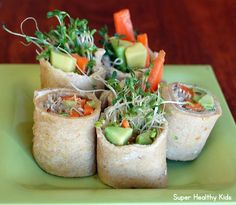 Super Healthy Kids Alfalfa Sushi Sandwiches Healthy Ideas For Kids Sprout Recipes, Sushi Recipes, Real Food Recipes, Healthy Recipes, Sandwich Recipes, Vegetarian Recipes, Cooking Recipes, Super Healthy Kids, Healthy Snacks For Kids