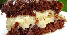 Ingredientes: ½ colher de (sopa) de fermento em pó 2 xícaras de (chá) de farinha de trigo 2 xícaras de chocolate em pó 100 g de manteiga 2 xícaras de açúcar 2 copos de leite 4 ovos Recheio 1 lata de leite condensado 200g de coco Cobertura 100g de chocolate ao leite 4 colheres de