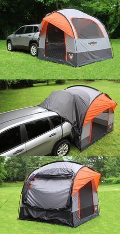 caravan ideas 532761830911147246 - For efficient camping – this Rightline SUV tent is the economical alternative to a camper. It connects to the Honda CR-V for more living and sleeping space. Tent Camping Beds, Camping Diy, Truck Bed Camping, Camping Glamping, Camping Survival, Camping Hacks, Camping Gear, Outdoor Camping, Outdoor Gear