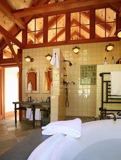 An amazing barn-style bathroom