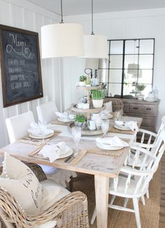Natural dining table with mismatched seating