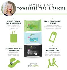 Our Garnier SkinActive Lifestyle Expert Molly Sims loves to use towelettes for more than just skincare! Try her favorite tips and tricks: Spring clean your handbag; erase deodorant stains, prevent hairline breakouts and keep your kids clean on the go.