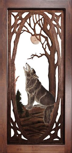 Hand carved wolf decorative screen door