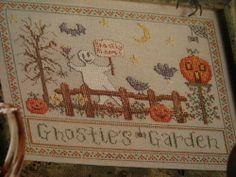 "Cross Stitch ""GHOSTIE'S GARDEN"" Halloween pattern - bats, jack-o-lanterns from a cross stitch magazine"